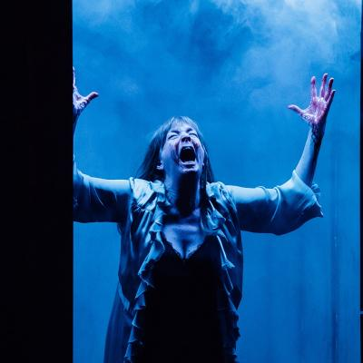 Lady with arms in the air screaming in Clear White Light