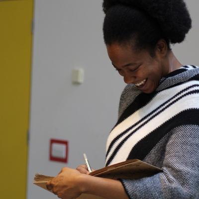Evlyne Oyedokun, One Under rehearsals, photo Charlotte McCabe
