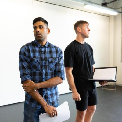 Two male actors rehearsing