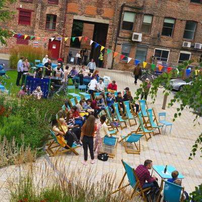 Garden set up with deckchairs - view from above