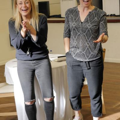 Christina Berriman Dawson and Eilidh Talman in rehearsals for Rattle Snake. Photo © Keith Pattison.