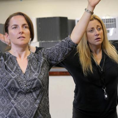 Eilidh Talman and Christina Berriman Dawson in rehearsals for Rattle Snake. Photo © Keith Pattison.