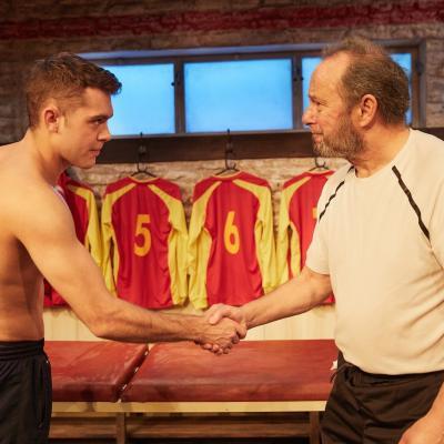 John Bowler and Dean Bone in The Red Lion play at Trafalgar Studios, London