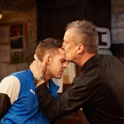 Stephen Tompkinson and Dean Bone in The Red Lion play at Trafalgar Studios, London