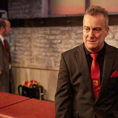 Stephen Tompkinson and John Bowler in The Red Lion play at Trafalgar Studios, London