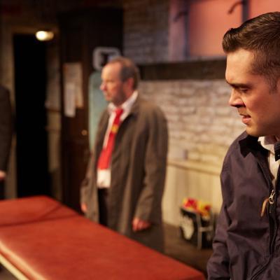 Stephen Tompkinson, John Bowler and Dean Bone in The Red Lion play at Trafalgar Studios, London