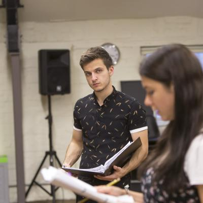 Heather Carroll and Daniel Watson rehearsing for The Terminal Velocity Of Snowflakes