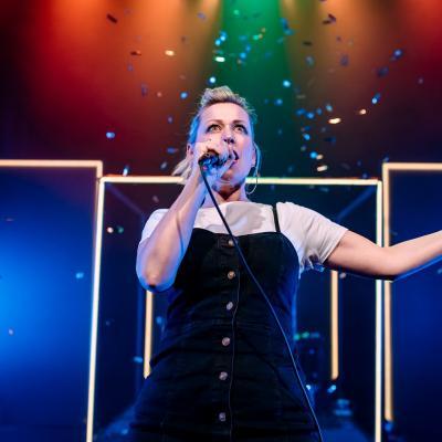 Female singer on stage