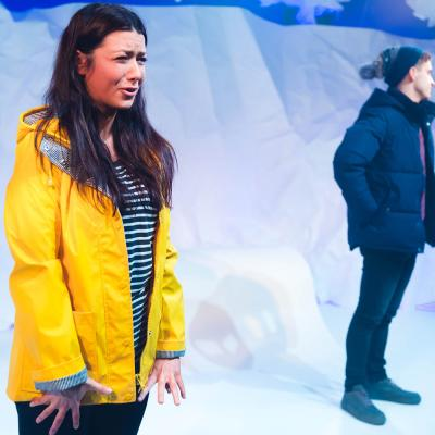 Daniel Watson and Heather Carroll in the play The Terminal Velocity Of Snowflakes at Live Theatre