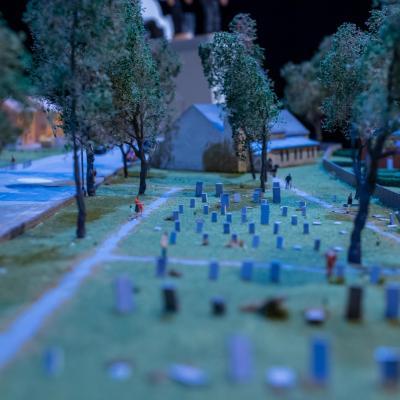 Miniature graveyard model set