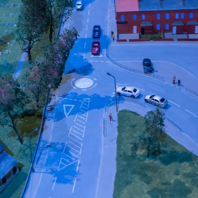 Miniature road as part of town set model