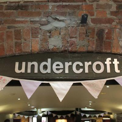 Undercroft sign and bunting