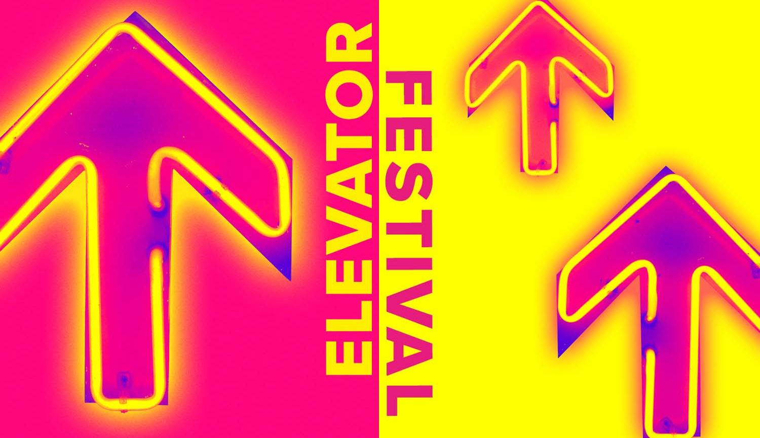 Elevator festival image of yellow neon arrow on pink background on left, 2 pink neon arrows on yellow background on right