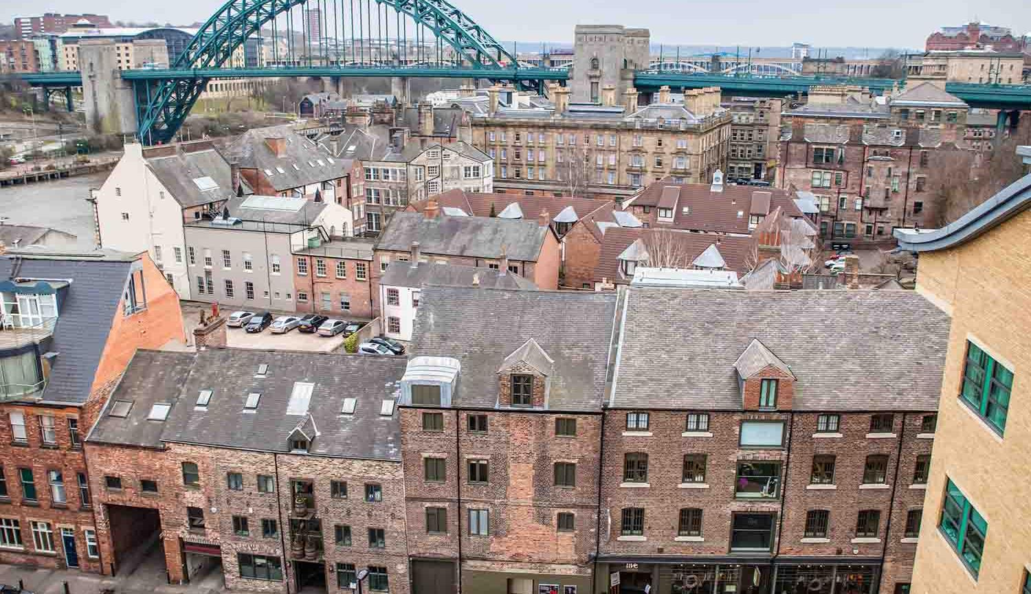 Aerial photo of Live Theatre buildings with Tyne Bridge in background