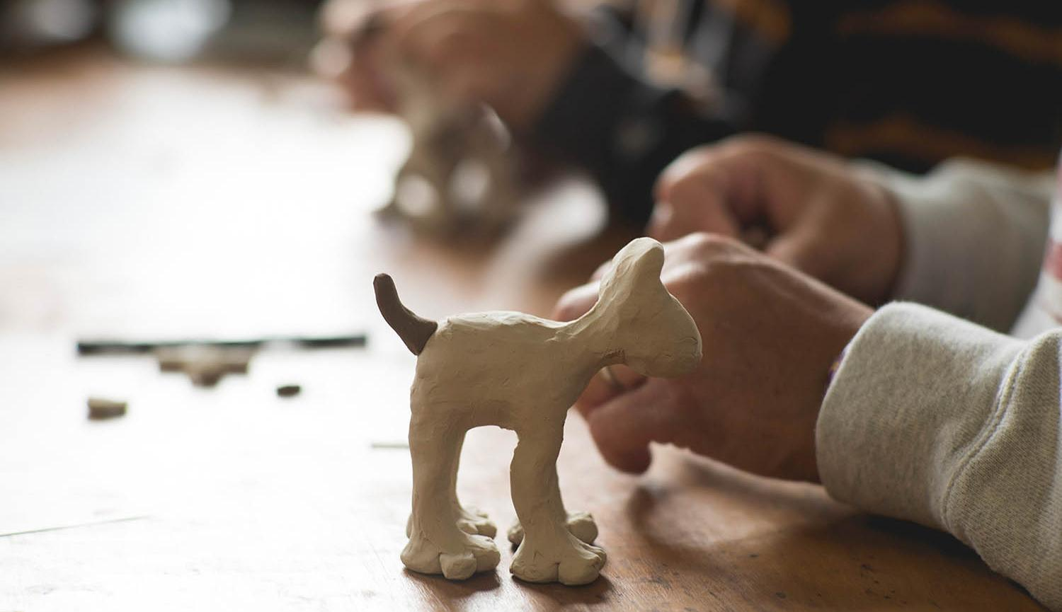 Aardman Gromit Model Making Workshop at Live Theatre image of Gromit clay model