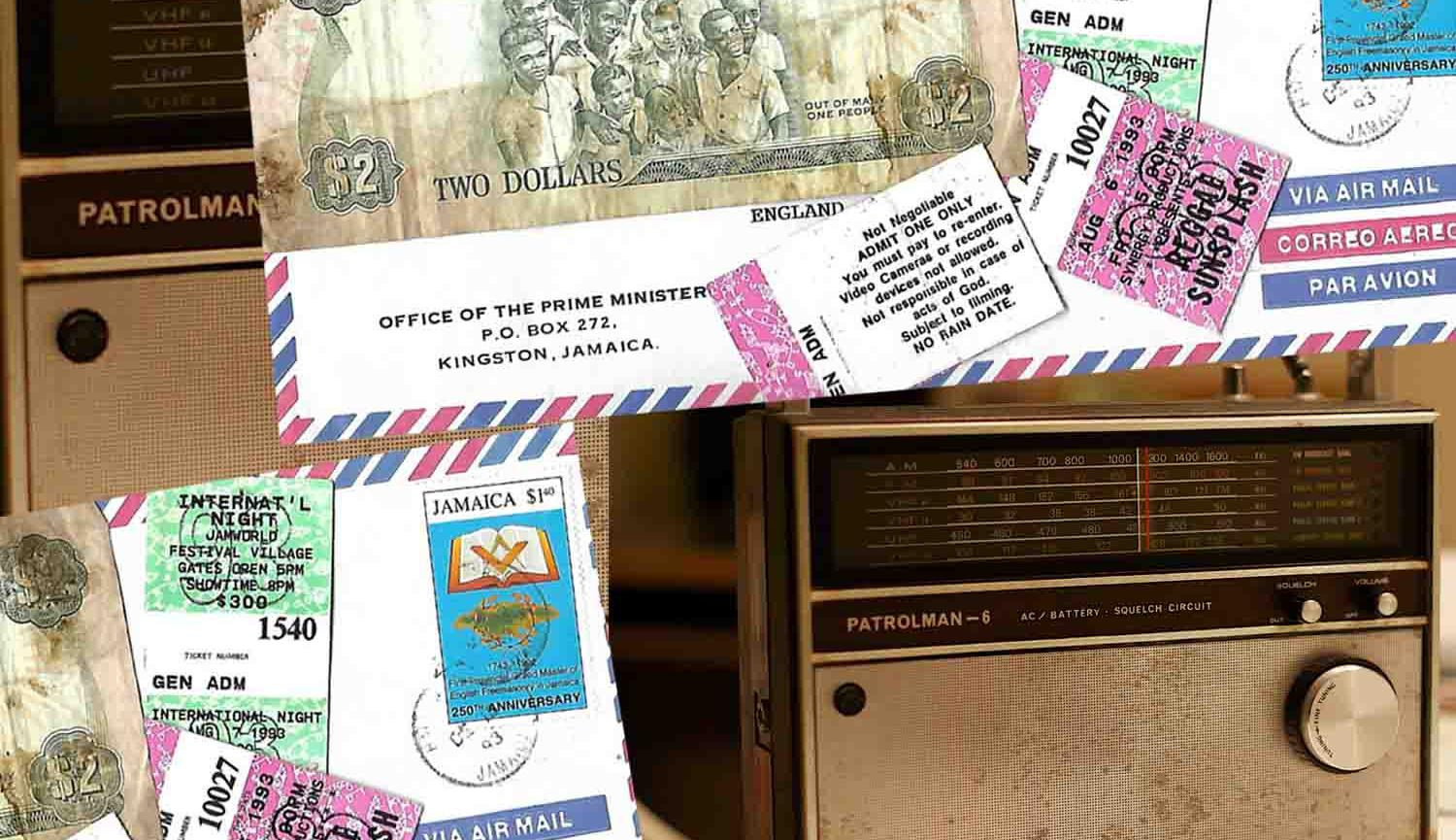 Sepia photo of old radio, image of air mail envelope with stamp, Jamaican two dollar note and tickets