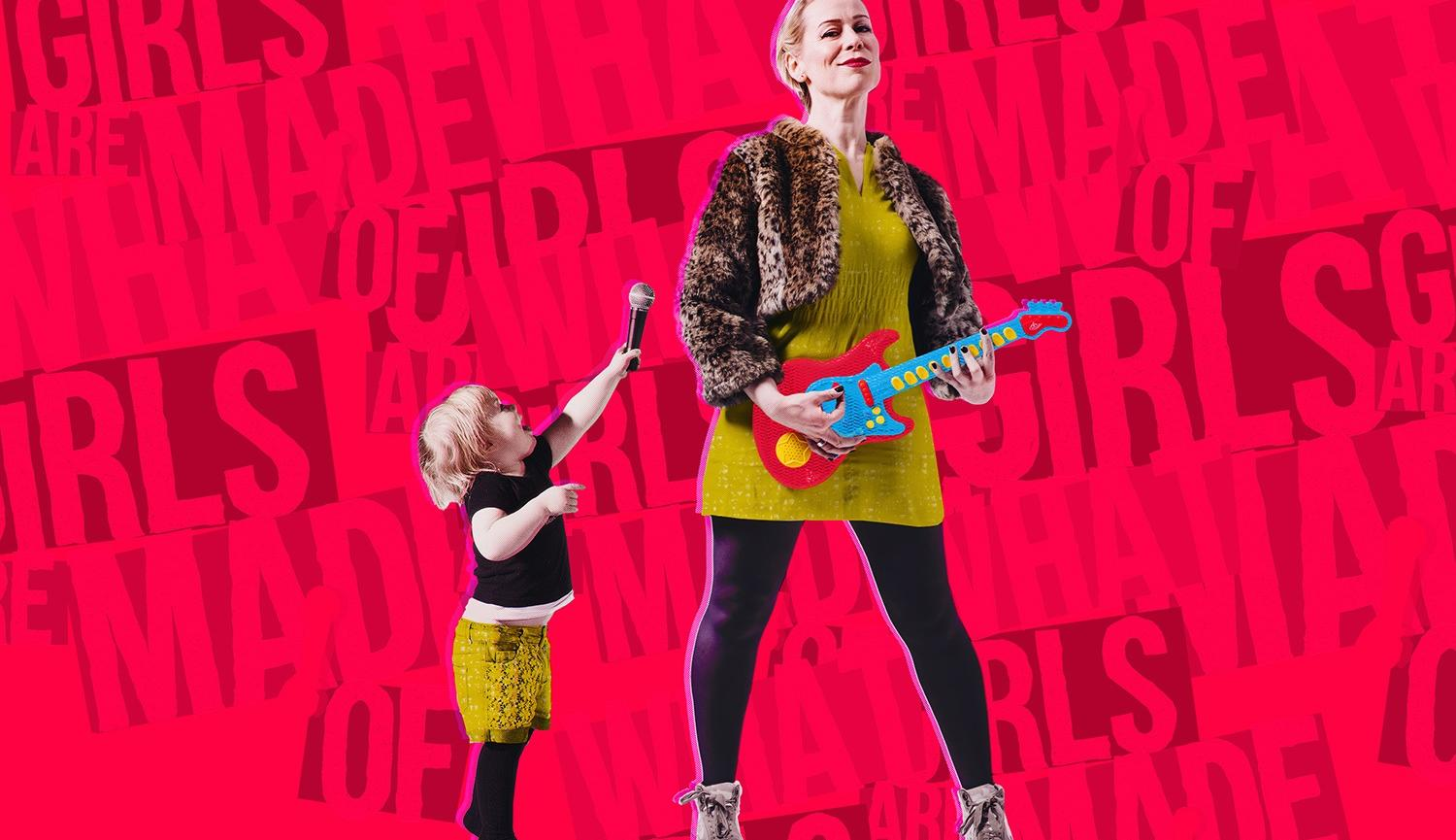 Picture of woman playing a guitar and a little girl holding a microphone What Girls Are Made Of Live Theatre