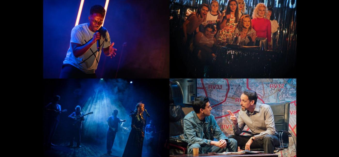 Montage of production images featuring Shine, Bonnie & Fanny's Christmas Spectacular, Clear White Light and Approaching Empty