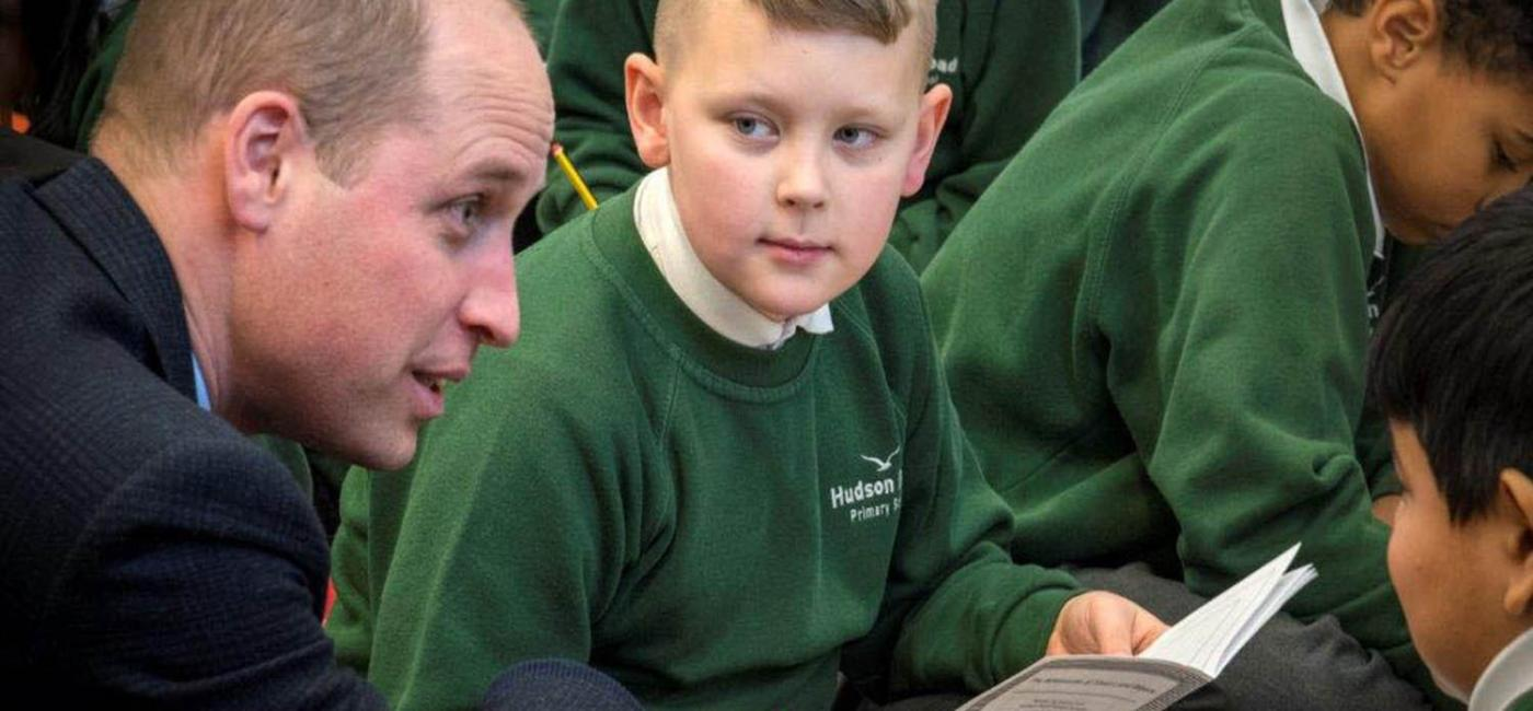 Prince William and pupils from Hudson Road Primary School at Live Tales, Sunderland