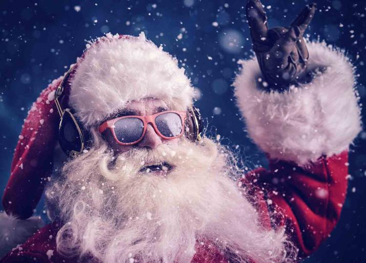 Mixtape Xmas image of father christmas wearing sunglasses